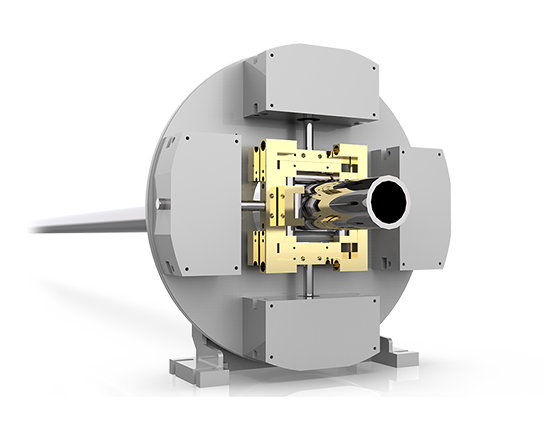 pneumatically adjustable clamp for the pipelaser